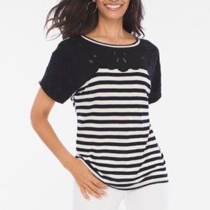 Chico's Epic Lace Striped Top Black & White
